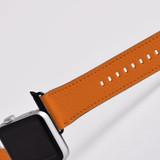 Apple Watch Band (44,42,40,38mm) Vegan Leather Strap Black Buckle, iWatch Orange   iCoverLover