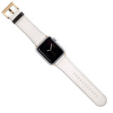 Apple Watch Band (44,42,40,38mm) Vegan Leather Strap Gold Buckle, iWatch White | iCoverLover