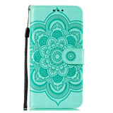 For Samsung Galaxy S20 Mandala Embossing Pattern Wallet Leather Case, Green | iCoverLover Australia