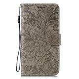 For Samsung Galaxy S20 Lace Flower Embossing Pattern Wallet PU Leather Case, Grey   iCoverLover Australia