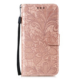 For Samsung Galaxy S20 Lace Flower Embossing Pattern Wallet PU Leather Case, Rose Gold   iCoverLover Australia