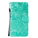 For Samsung Galaxy S20 Lace Flower Embossing Pattern Wallet PU Leather Case, Purple   iCoverLover Australia