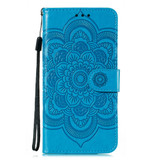 For Samsung Galaxy S20 Ultra Mandala Embossing Pattern Wallet Leather Case, Blue | iCoverLover Australia