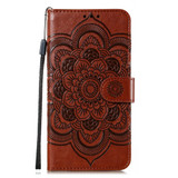 For Samsung Galaxy S20 Ultra Mandala Embossing Pattern Wallet Leather Case, Brown | iCoverLover Australia