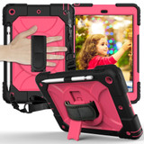 For iPad 10.2in (2021,2020,2019) Case Shockproof PC + Silicone Combination ,Holder, Hand Strap, Shoulder Strap, Black + Rose RediPad Cases | iCoverLover.com.au