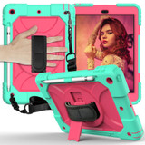 For iPad 10.2in (2021,2020,2019) Case Shockproof PC + Silicone Combination ,Holder, Hand Strap, Shoulder Strap, Mint Green + Rose RediPad Cases | iCoverLover.com.au