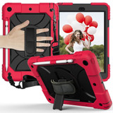 For iPad 10.2in (2021,2020,2019) Case Shockproof PC + Silicone Combination ,Holder, Hand Strap, Shoulder Strap, Red+BlackiPad Cases | iCoverLover.com.au
