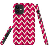 For Apple iPhone 12 mini Case, Tough Protective Back Cover, Zigzag magenta Pattern | iCoverLover Australia