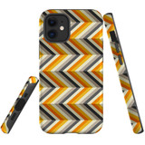 For Apple iPhone 12 mini Case, Tough Protective Back Cover, Zigzag left right yellow Pattern | iCoverLover Australia