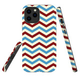 For Apple iPhone 12 Pro Max Case, Tough Protective Back Cover, Zigzag blue rePattern | iCoverLover Australia