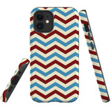 For Apple iPhone 12 mini Case, Tough Protective Back Cover, Zigzag blue rePattern | iCoverLover Australia