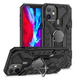 iPhone 12 / 12 Pro (6.1in) Case Tough Armour Protective Cover with Magnetic Ring Holder Black