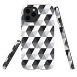 For Apple iPhone 12 Pro Max Case, Tough Protective Back Cover, hexagonal grey black white | iCoverLover Australia