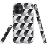 For Apple iPhone 12 mini Case, Tough Protective Back Cover, hexagonal grey black white | iCoverLover Australia