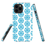 For Apple iPhone 12 Pro Max Case, Tough Protective Back Cover, blue snowflakes   iCoverLover Australia