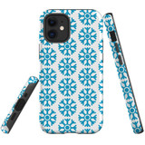 For Apple iPhone 12 mini Case, Tough Protective Back Cover, blue snowflakes   iCoverLover Australia