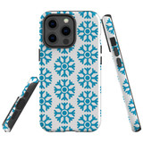 For Apple iPhone 13 Pro Case, Protective Back Cover, Blue Snowflakes | Shielding Cases | iCoverLover.com.au