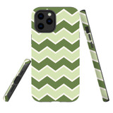 For Apple iPhone 12 Pro Max Case, Tough Protective Back Cover, Zigzag green Pattern   iCoverLover Australia