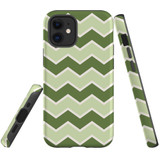 For Apple iPhone 12 mini Case, Tough Protective Back Cover, Zigzag green Pattern   iCoverLover Australia