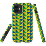 For Apple iPhone 12 Pro Max (6.7in) Case, Tough Protective Back Cover, brazil flag abstract pattern | iCoverLover Australia