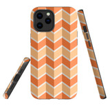 For Apple iPhone 12 Pro Max Case, Tough Protective Back Cover, Zigzag salmon Pattern | iCoverLover Australia