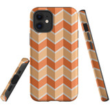 For Apple iPhone 12 mini Case, Tough Protective Back Cover, Zigzag salmon Pattern | iCoverLover Australia