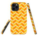 For Apple iPhone 12 Pro Max/12 Pro/12 mini Case, Tough Protective Back Cover, Zigzag yellow orange Pattern | iCoverLover Australia