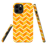 For Apple iPhone 12 Pro Max Case, Tough Protective Back Cover, Zigzag yellow orange Pattern | iCoverLover Australia