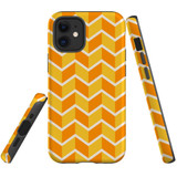 For Apple iPhone 12 mini Case, Tough Protective Back Cover, Zigzag yellow orange Pattern | iCoverLover Australia