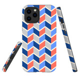 For Apple iPhone 12 Pro Max Case, Tough Protective Back Cover, Zigzag salmon blue Pattern | iCoverLover Australia