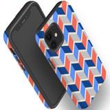 For Apple iPhone 12 Pro Max/12 Pro/12 mini Case, Tough Protective Back Cover, Zigzag salmon blue Pattern | iCoverLover Australia
