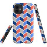 For Apple iPhone 12 mini Case, Tough Protective Back Cover, Zigzag salmon blue Pattern | iCoverLover Australia