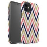 For Apple iPhone 12 Pro Max/12 Pro/12 mini Case, Tough Protective Back Cover, Zigzag salmon purple Pattern | iCoverLover Australia