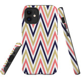 For Apple iPhone 12 mini Case, Tough Protective Back Cover, Zigzag salmon purple Pattern | iCoverLover Australia