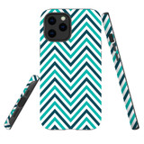 For Apple iPhone 12 Pro Max Case, Tough Protective Back Cover, Zigzag turquoise Pattern   iCoverLover Australia