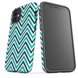 For Apple iPhone 12 Pro Max/12 Pro/12 mini Case, Tough Protective Back Cover, Zigzag turquoise Pattern   iCoverLover Australia