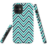 For Apple iPhone 12 mini Case, Tough Protective Back Cover, Zigzag turquoise Pattern   iCoverLover Australia