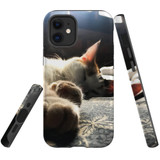 For Apple iPhone 12 Pro Max/12 Pro/12 mini Case, Tough Protective Back Cover, Cozy Cat | iCoverLover Australia