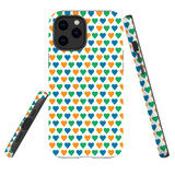 For Apple iPhone 12 Pro Max Case, Tough Protective Back Cover, colourful heart pattern   iCoverLover Australia