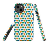 For Apple iPhone 12 mini Case, Tough Protective Back Cover, colourful heart pattern | iCoverLover Australia