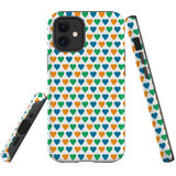 For Apple iPhone 12 mini Case, Tough Protective Back Cover, colourful heart pattern   iCoverLover Australia