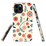 For Apple iPhone 12 mini Case, Tough Protective Back Cover, Flowers Pattern orange blue | iCoverLover Australia