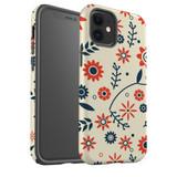 For Apple iPhone 12 Pro Max/12 Pro/12 mini Case, Tough Protective Back Cover, Flowers Pattern orange blue | iCoverLover Australia