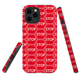 For Apple iPhone 12 Pro Max Case, Tough Protective Back Cover, stop sign pattern | iCoverLover Australia