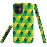 For Apple iPhone 12 mini Case, Tough Protective Back Cover, green yellow pattern | iCoverLover Australia