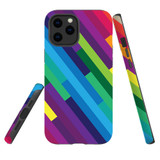 For Apple iPhone 12 Pro Max Case, Tough Protective Back Cover, rainbow pattern | iCoverLover Australia