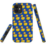 For Apple iPhone 12 mini Case, Tough Protective Back Cover, yellow duckies pattern | iCoverLover Australia