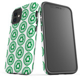 For Apple iPhone 12 Pro Max/12 Pro/12 mini Case, Tough Protective Back Cover, green recycle pattern | iCoverLover Australia
