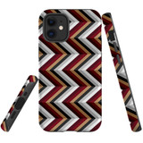For Apple iPhone 12 mini Case, Tough Protective Back Cover, Zigzag black brown rePattern | iCoverLover Australia