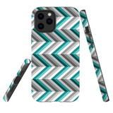 For Apple iPhone 12 Pro Max Case, Tough Protective Back Cover, Zigzag blue grey Pattern   iCoverLover Australia